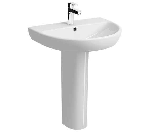 Twyford E100 Round 650 x 500mm 1 Tap Hole Washbasin With Full Pedestal