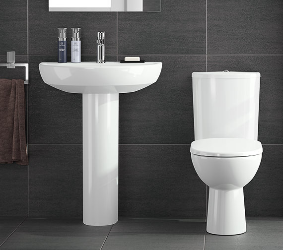Additional image of Twyford E100 Round 650 x 500mm 1 Tap Hole Washbasin With Full Pedestal