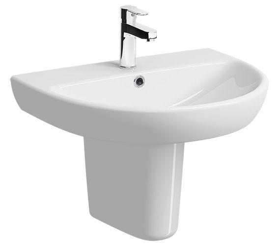 Twyford E100 Round 650 x 500mm 1 Tap Hole Washbasin With Semi Pedestal