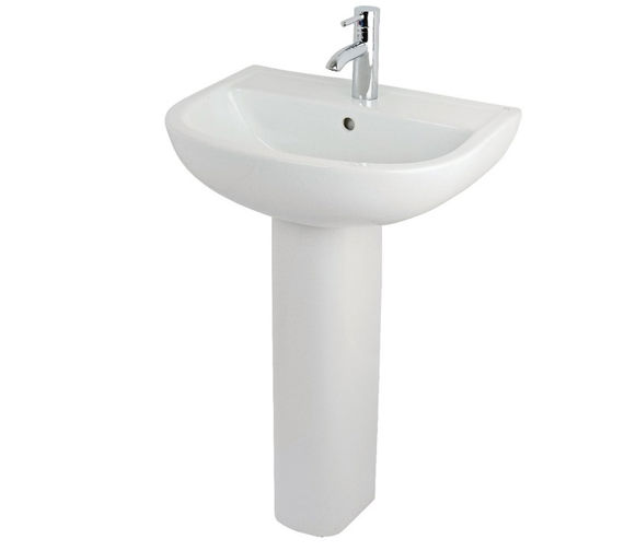 Essential Lily 45cm Basin With Small Full Pedestal
