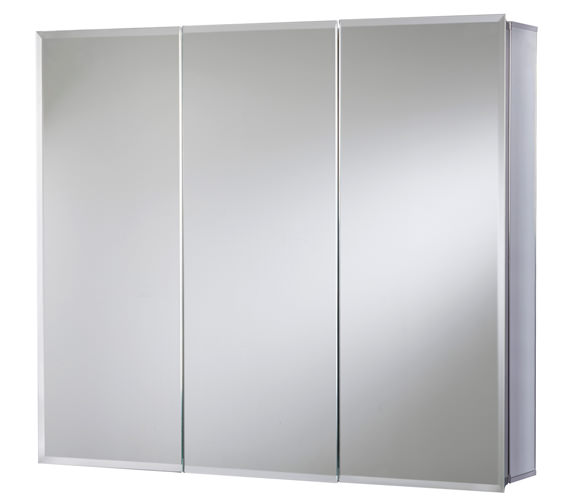 Croydex Westbourne Triple Door Tri-View White Steel Cabinet 914 x 762mm