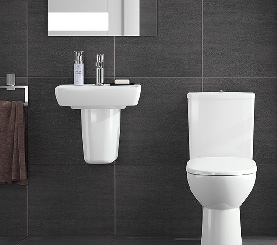 Additional image of Twyford E100 Square 450 x 350mm 1 Tap Hole Washbasin With Semi Pedestal