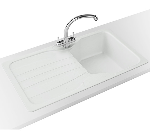 Franke Calypso Propack COG 611 Fragranite Polar White Kitchen Sink And Tap