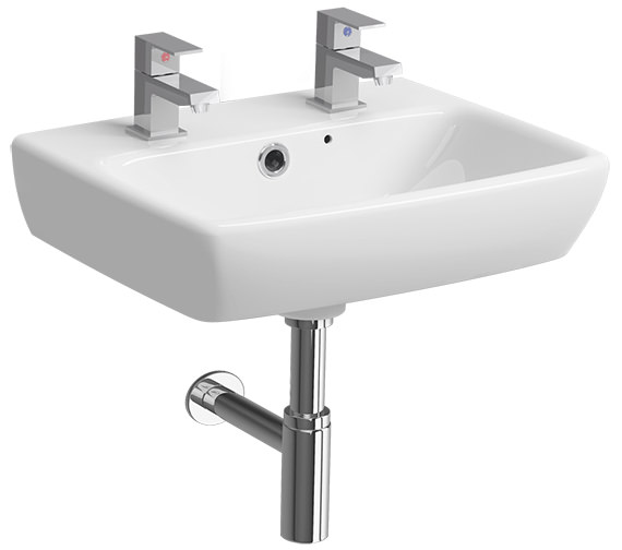 Twyford E100 Square 450 x 350mm 2 Tap Hole Handrinse Washbasin