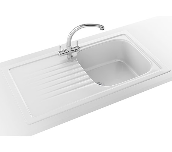 Franke Elba Propack ELK 611 Ceramic White Kitchen Inset Sink And Tap