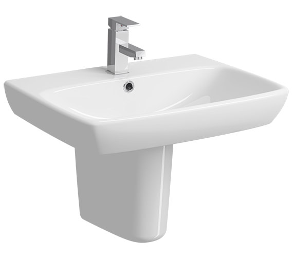 Twyford E100 Square 650 x 480mm 1 Tap Hole Washbasin With Semi Pedestal