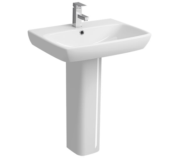 Twyford E100 Square 650 x 480mm 1 Tap Hole Washbasin With Full Pedestal