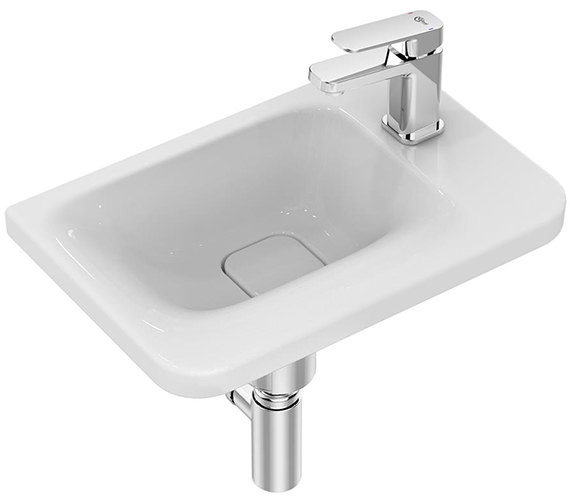 Ideal Standard Tonic II 450mm 1 TH Right Hand Asymmetric Guest Basin White