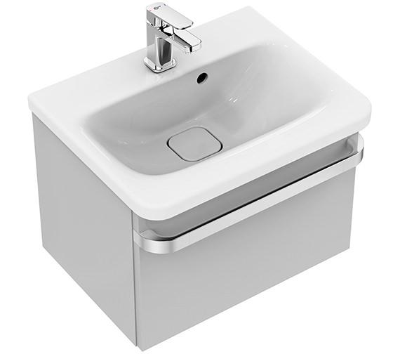 Ideal Standard Tonic II 500mm 1 Drawer Washbasin Unit Gloss Light Grey