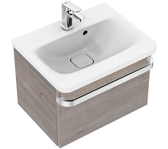 Ideal Standard Tonic II 500mm 1 Drawer Washbasin Unit Light Grey Wood