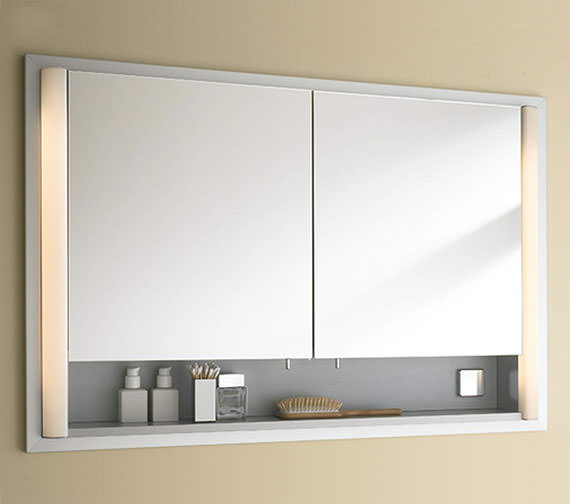 Duravit 1000mm 2 Door Built In Mirror Cabinet With Open Shelf - LM9707