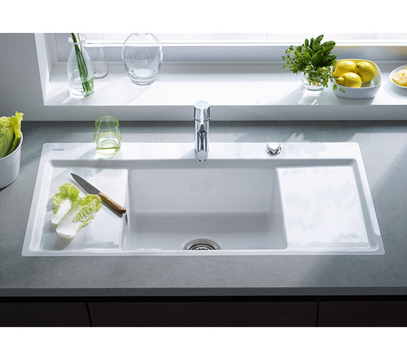 ... Duravit Kiora 60 Z Central Bowl Flush Mount Kitchen Sink - 7522100027