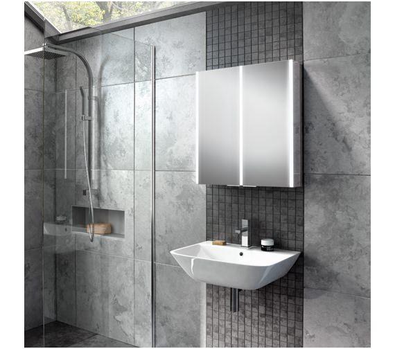 HIB Xenon Double Door 700mm High LED Illuminated Aluminium Cabinet