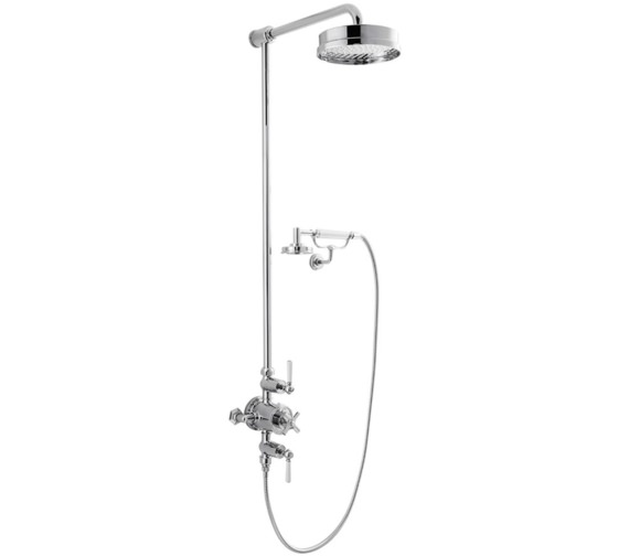 Alternate image of Crosswater Waldorf White Lever Thermostatic Rigid Riser - Handset And Cradle