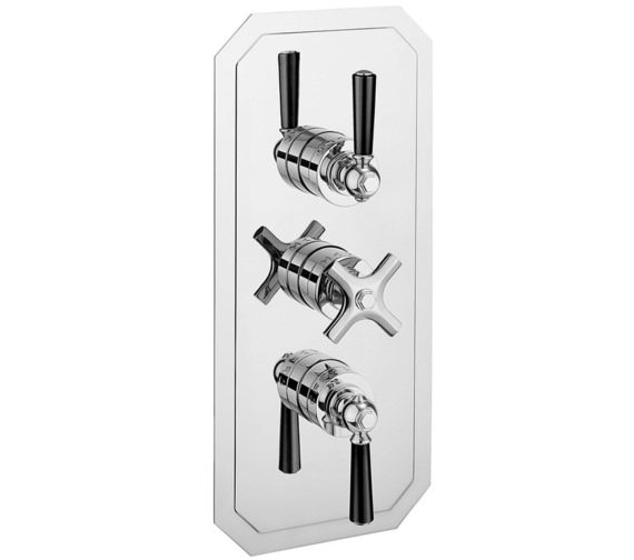 Crosswater Waldorf Black Lever Portrait 3 Control Thermostatic Shower Valve