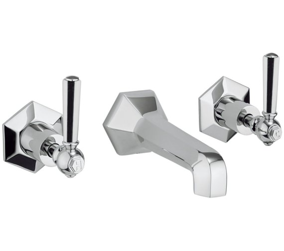 Crosswater Waldorf Chrome Lever 3 Hole Wall Mounted Basin Mixer Tap Set
