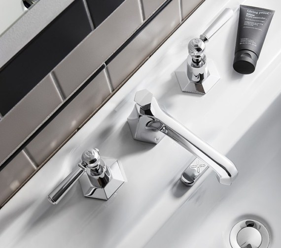 Additional image of Crosswater Waldorf Chrome Lever 3 Hole Deck Mounted Basin Mixer Tap Set