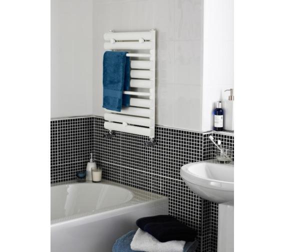 Premier 445 x 650mm White Straight Heated Towel Rail