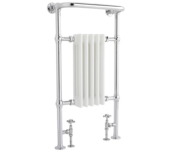 Lauren Small Harrow 540 x 965mm Chrome-White Traditional Heated Towel Rail