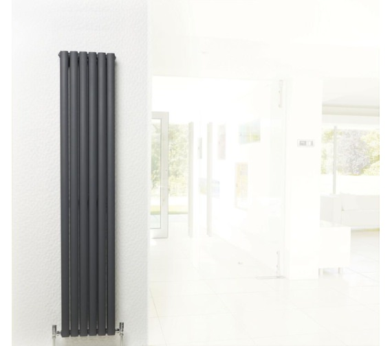 Additional image of Lauren Ricochet Double Panel 354 x 1800mm Anthracite Vertical Radiator