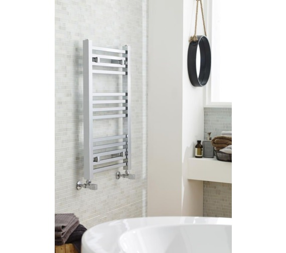 Nuie 500mm Wide Chrome Square Heated Towel Rail