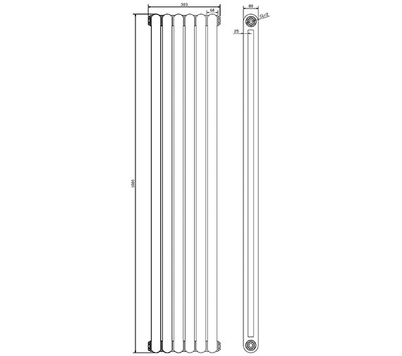 Additional image of Hudson Reed Salvia Double Panel 1500 x 383mm White Horizontal Designer Radiator