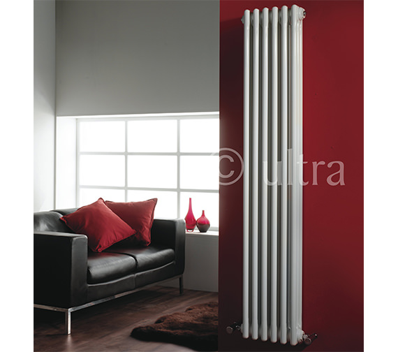 Premier Regency Double Column 335 x 1800mm White Vertical Designer Radiator