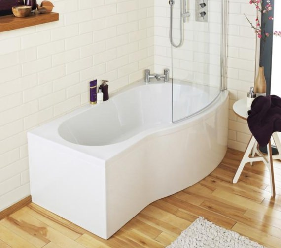 Additional image of Lauren Curved B-Shaped 1500 x 900mm Right Hand Acrylic Shower Bath Pack