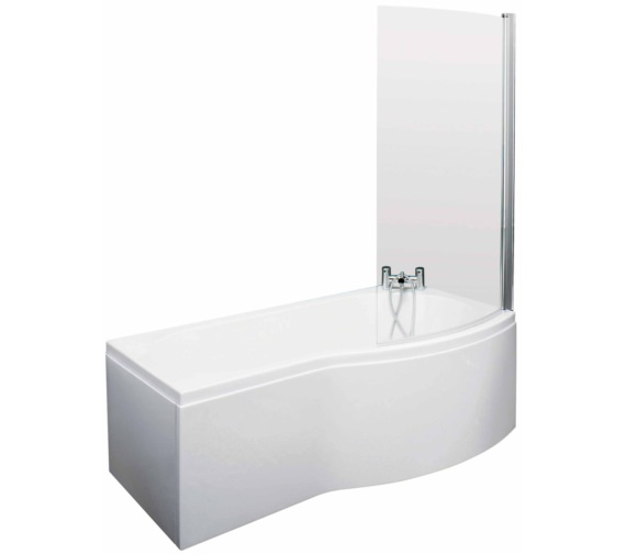 Lauren Curved B-Shaped 1500 x 900mm Right Hand Acrylic Shower Bath Pack