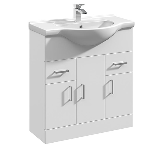 Premier Mayford Gloss White 3 Door And 2 Drawer Basin Vanity Unit