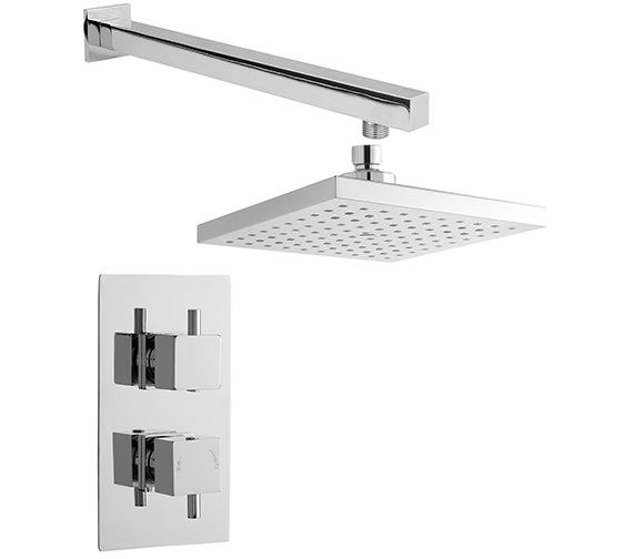 Lauren Bundle - 1 - Twin Thermostatic Valve And Square Fixed Head