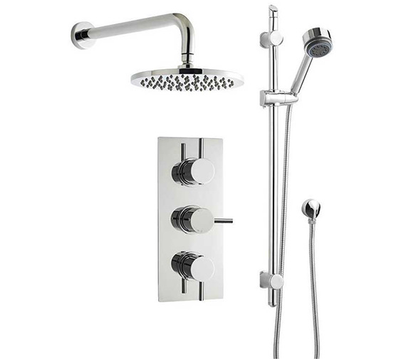 Nuie Premier Bundle - 3 - Triple Valve With Round Fixed Head And Slide Rail Kit