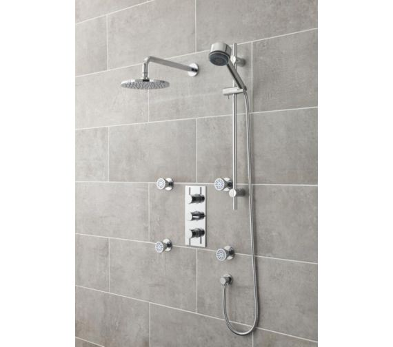 Additional image of Lauren Quest Round Thermostatic Triple Concealed Shower Valve