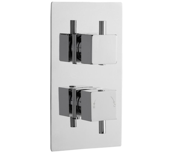 Lauren Volt Square Thermostatic Twin Concealed Shower Valve With Diverter