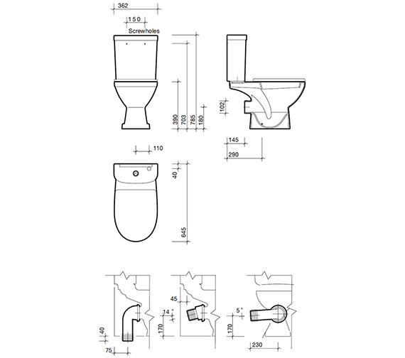 Technical drawing QS-V84317 / RE1148WH