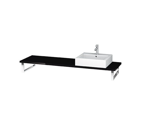 Duravit L Cube 800 x 480mm Black High Gloss 1 Cut Out Console