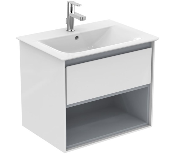 Ideal Standard Concept Air 600mm Wall 1 Drawer With Open Shelf Gloss White Vanity Unit