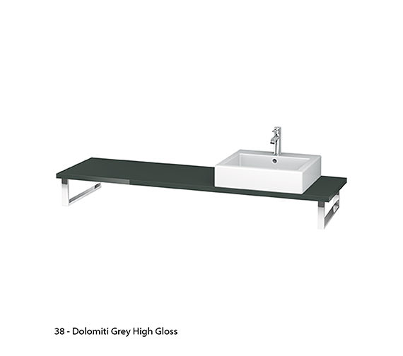 Alternate image of Duravit L Cube 800 x 480mm Black High Gloss 1 Cut Out Console