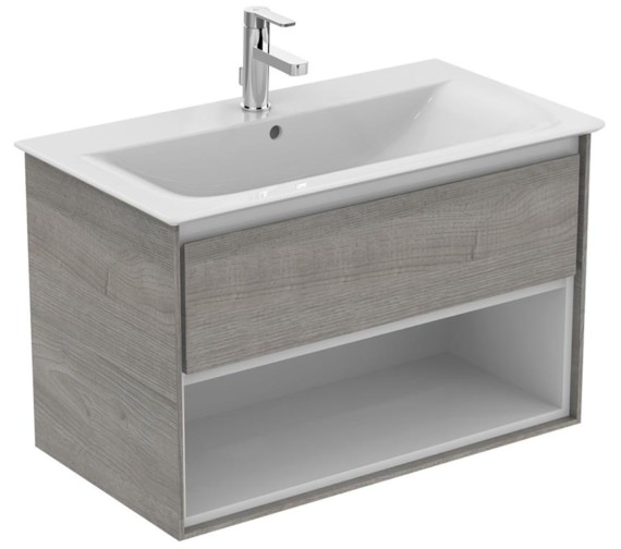 Ideal Standard Concept Air 800mm Wall Hung 1 Drawer With Open Shelf Light Grey Wood Vanity Unit