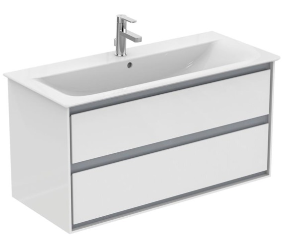 Ideal Standard Concept Air 1000mm Wall Hung 2 Drawers Gloss White Vanity Unit