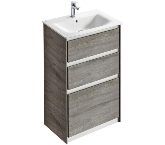 Ideal Standard Concept Air 600mm Free Standing 2 Drawers Light Grey Wood Vanity Unit
