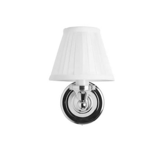 Burlington Round Light With Chrome Base And White Fine Pleated Shade
