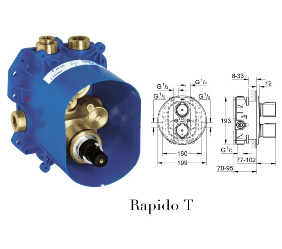 Additional image of Grohe Grohtherm 3000 Cosmopolitan Thermostat Valve With 2-Way Diverter