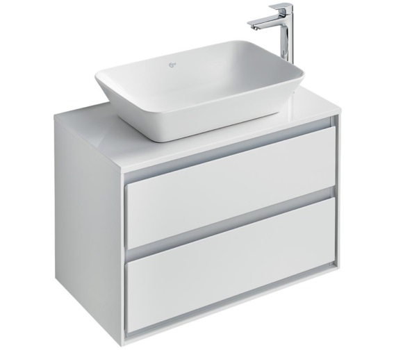 Ideal Standard Concept Air 800mm 2 Drawers Gloss Grey Vanity Unit With Worktop