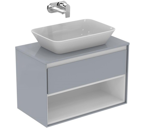 Ideal Standard Concept Air 800mm Gloss Grey Drawer And Shelf Unit With Worktop