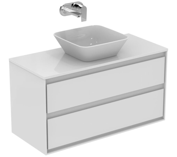 Ideal Standard Concept Air 1000mm Gloss White 2 Drawers Vanity Unit With Worktop