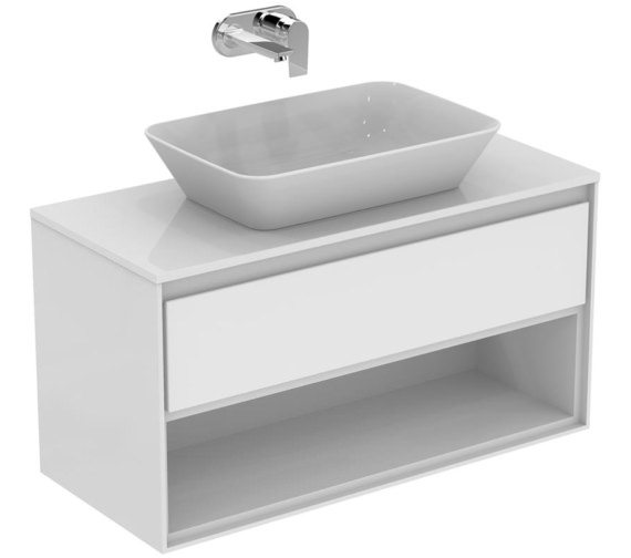 Ideal Standard Concept Air 1000mm Gloss White Drawer And Shelf Unit With Worktop