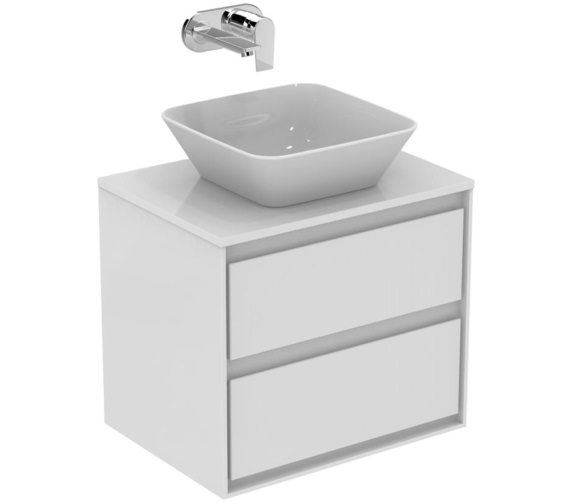 Ideal Standard Concept Air 600mm Gloss White 2 Drawers Vanity Unit With Worktop