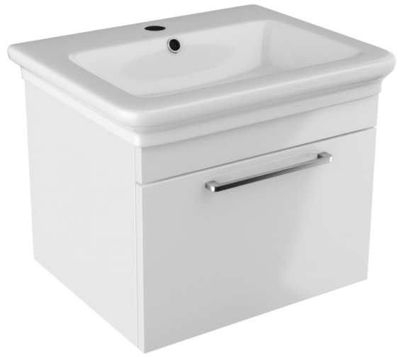 Pura Platto 600mm Wall Hung Single Drawer White Gloss Vanity Unit And Basin
