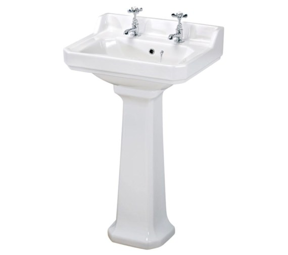 Beo Ambience 600mm 2 Tap Hole Basin And Full Pedestal
